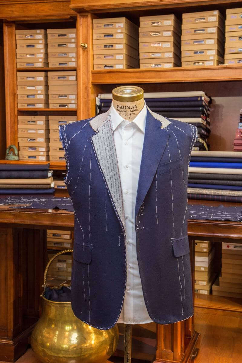 men's custom suit jacket with tailoring lines